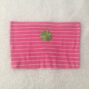Crop pink tube top with embroidered daisy size M